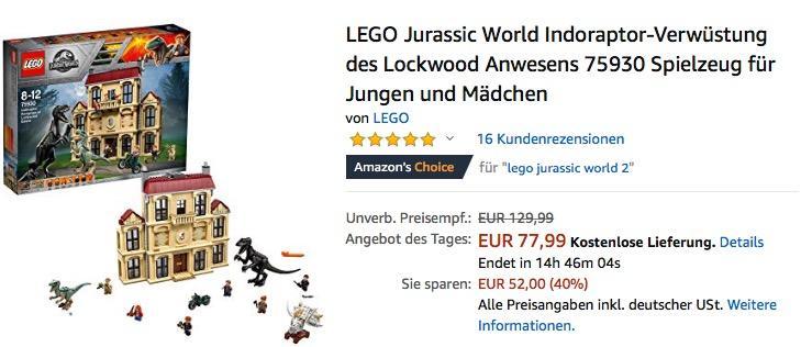LEGO (75930) Jurassic World Indoraptor-Verwüstung des Lockwood Anwesens
