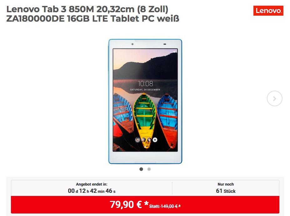 Lenovo Tab 3 850M 20,32cm (8 Zoll) ZA180000DE 16GB LTE Tablet-PC
