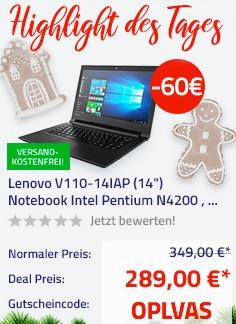 "Lenovo V110-14IAP 35,5 cm (14"") Notebook (Intel Pentium N4200 , 8GB RAM, 128GB SSD, HD Display, FreeDOS)"