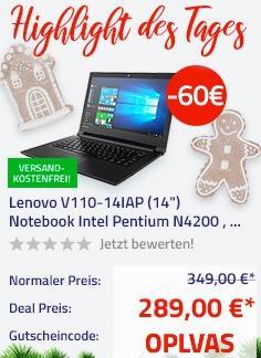 """Lenovo V110-14IAP 35,5 cm (14"""") Notebook (Intel Pentium N4200 , 8GB RAM, 128GB SSD, HD Display, FreeDOS)"""