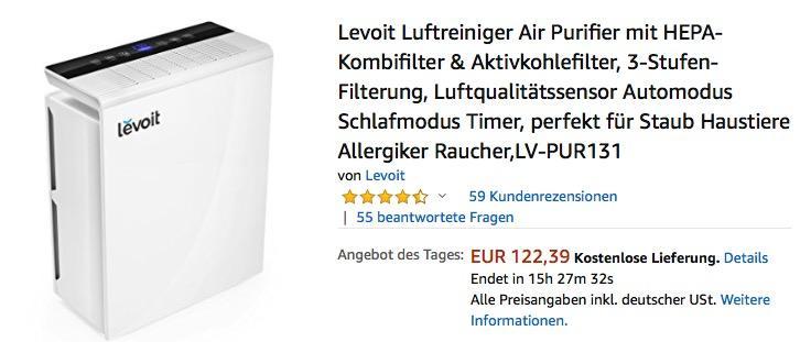 Levoit Luftreiniger mit HEPA-Kombifilter & Aktivkohlefilter (LV-PUR131)