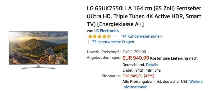 LG 65UK7550LLA 164 cm (65 Zoll) Ultra-HD Fernseher