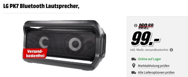 LG PK7 Bluetooth Lautsprecher in Schwarz