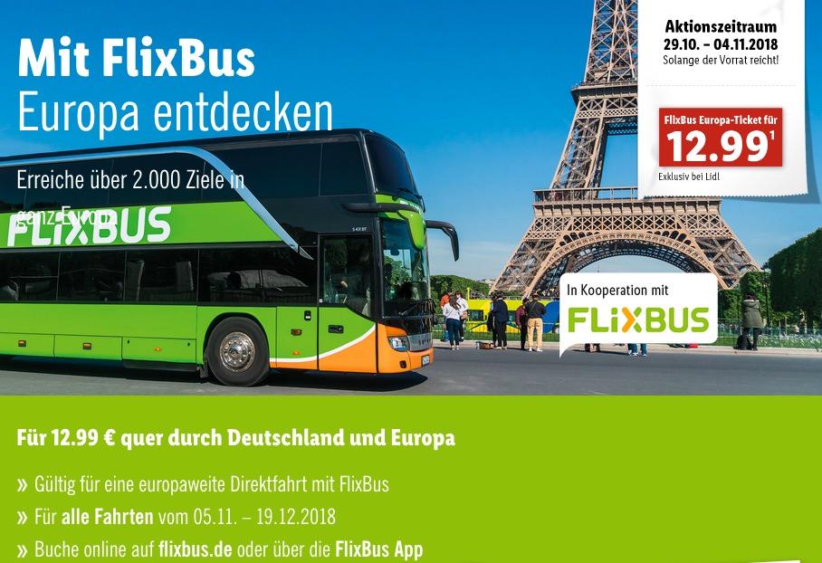 LIDL-Aktion: FLIXBUS 12,99€ Ticket für Einzelfahrt quer Deutschland und Europa