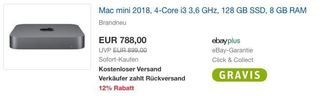 Mac mini 2018, 4-Core i3 3,6 GHz, 128 GB SSD, 8 GB RAM