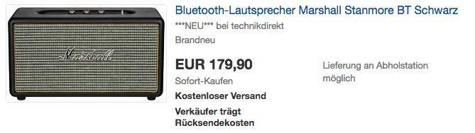 MARSHALL Stanmore Bluetooth Lautsprecher in Schwarz