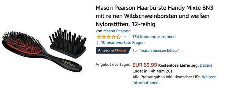 Mason Pearson Haarbürste Mixte BN3 mit reinen Wildschweinborsten