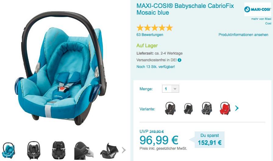 MAXI-COSI® Babyschale CabrioFix Mosaic blue - jetzt 12% billiger