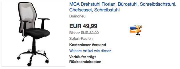MCA Bürostuhl Florian in Silber/Grau