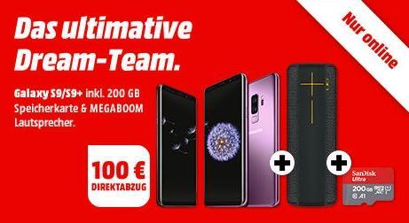 MediaMarkt Aktion: SAMSUNG Galaxy S9/S9+ inkl. 200 GB Speicherkarte & MEGABOOM Lautsprecher + 100€ Direktabzug