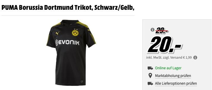 MediaMarkt Fußball-Trikots - Aktion: z.B. PUMA Borussia Dortmund Kinder Trikot, Schwarz/Gelb Gr.176