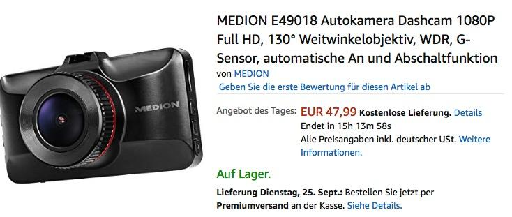 MEDION E49018 Autokamera Dashcam 1080P Full HD