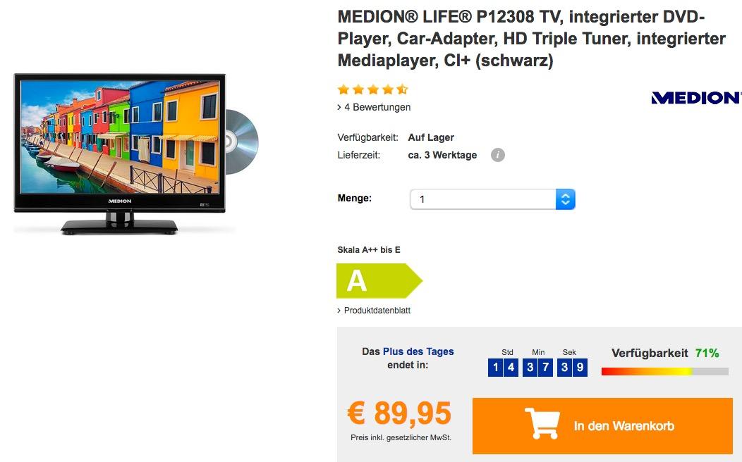 """MEDION® LIFE® P12308 39,6 cm (15,6"""") Fernseher mit integriertem DVD-Player"""