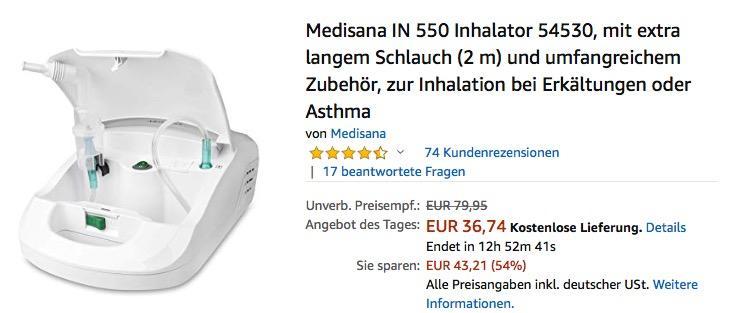 Medisana IN 550 Inhalator zur Inhalation bei Erkältungen oder Asthma