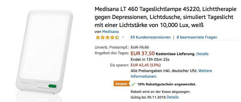 Medisana LT 460 Tageslichtlampe bis zu 10000 Lux