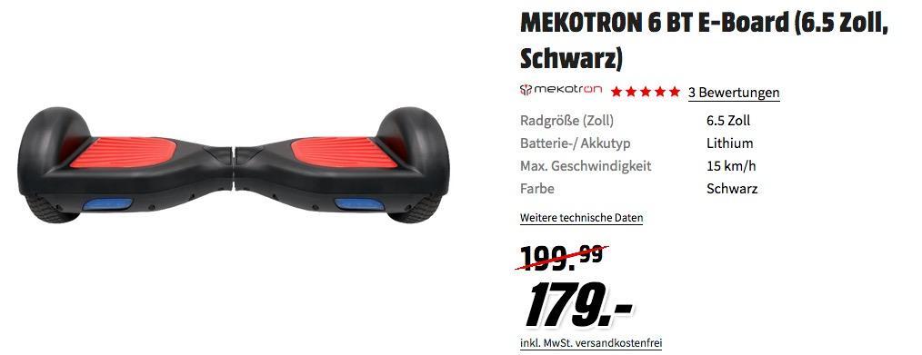 MEKOTRON 6 BT E-Board 15 km/h mit Vollgummireifen