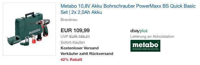 Metabo 10,8V Akku Bohrschrauber PowerMaxx BS Quick Basic Set inkl.  2x 2,0Ah Akku