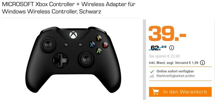 MICROSOFT Xbox Controller + Wireless Adapter für Windows, schwarz