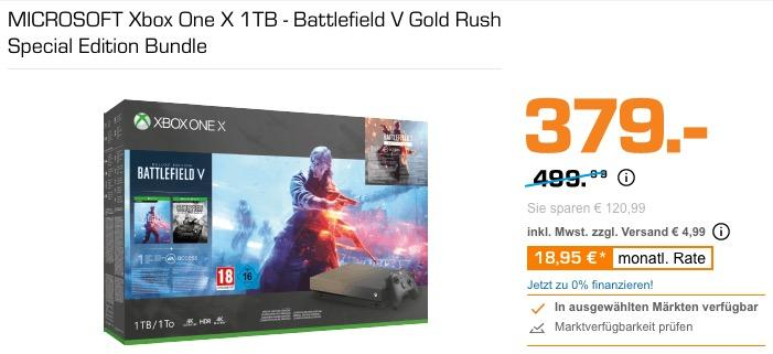 MICROSOFT Xbox One X 1TB - Battlefield V Gold Rush Special Edition