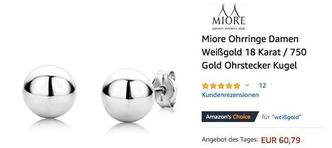 Miore Ohrringe Damen Weißgold 18 Karat / 750 Gold Ohrstecker Kugel