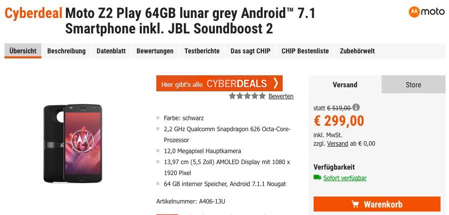 Moto Z2 Play 64GB lunar grey Android™ 7.1 Smartphone inkl. JBL Soundboost 2