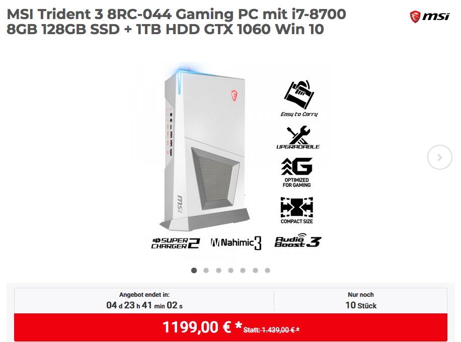 MSI Trident 3 8RC-044 Gaming PC mit i7-8700 8GB 128GB SSD + 1TB HDD GTX 1060 Win 10
