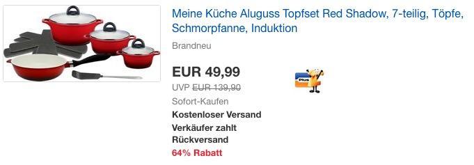 """M&K by ELO (Meine Küche) Aluguss Topfset """"Red Shadow"""", 7-teilig"""