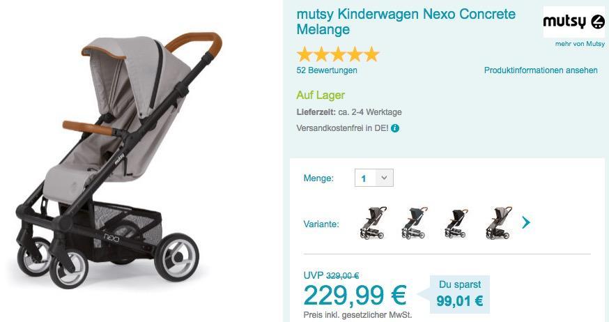 mutsy Kinderwagen Nexo Concrete - jetzt 19% billiger