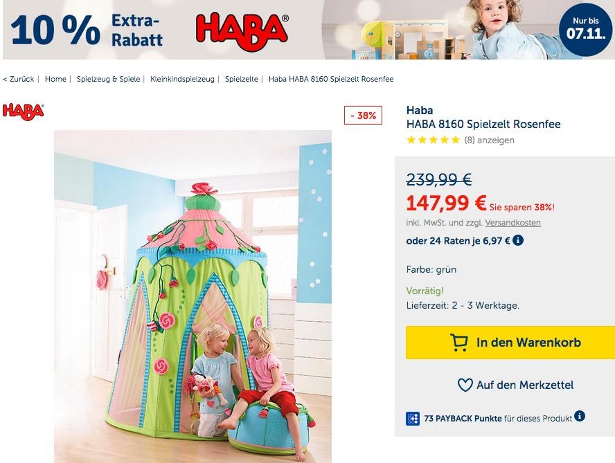 myToys.de 10% Extra-Rabat auf HABA: z.B. HABA 8160 - Spielzelt Rosenfee