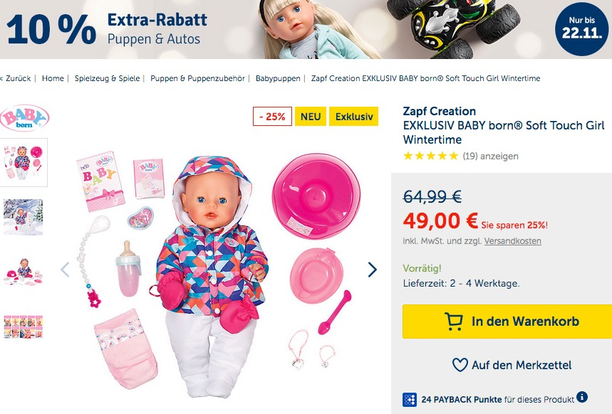 myToys.de 10% Extra-Rabat auf Puppen & Autos: z.B.  Zapf Creation EXKLUSIV BABY born® Soft Touch Girl Wintertime