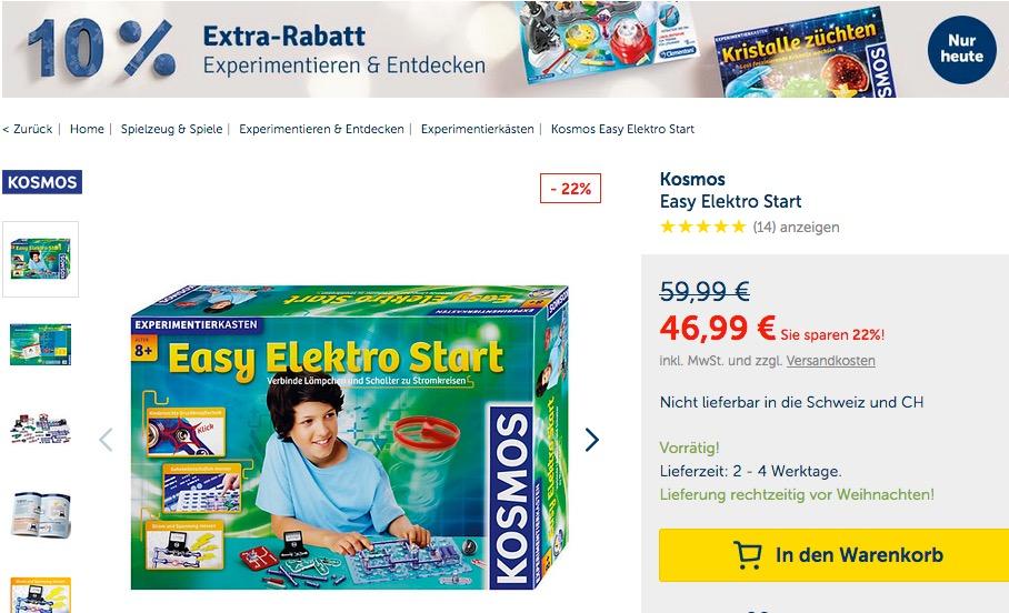 myToys.de 10% Extra-Rabat auf Experimentieren & Entdecken: z.B. Kosmos Easy Elektro Start Elektronik-Baukasten