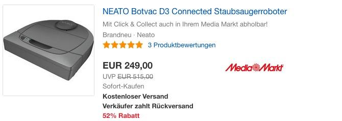 NEATO Botvac D3 Connected Staubsaugerroboter 945-0247