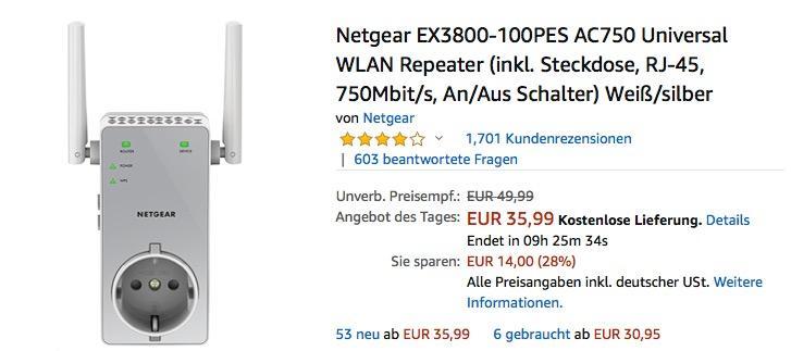 Netgear EX3800-100PES AC750 Universal WLAN Repeater bis zu 750 Mbit/s