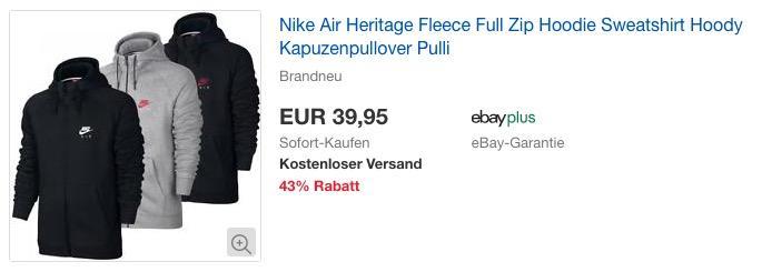 Nike Air Heritage Fleece Full Zip Kapuzenpullover