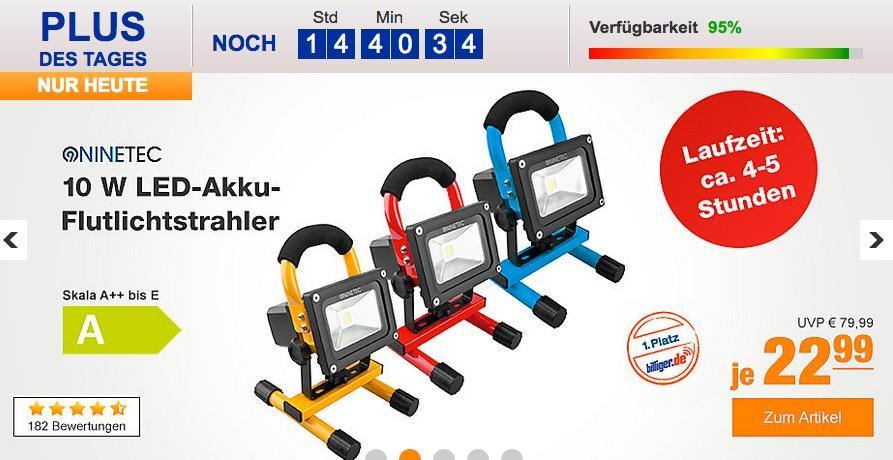 NINETEC 10 W LED-Akku-Flutlichtstrahler