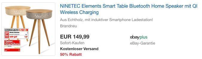 NINETEC Elements Smart Table Bluetooth Lautsprecher mit QI Wireless Charging - jetzt 17% billiger