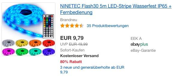 NINETEC Flash30 5m LED-Strip mit Fernbedienung