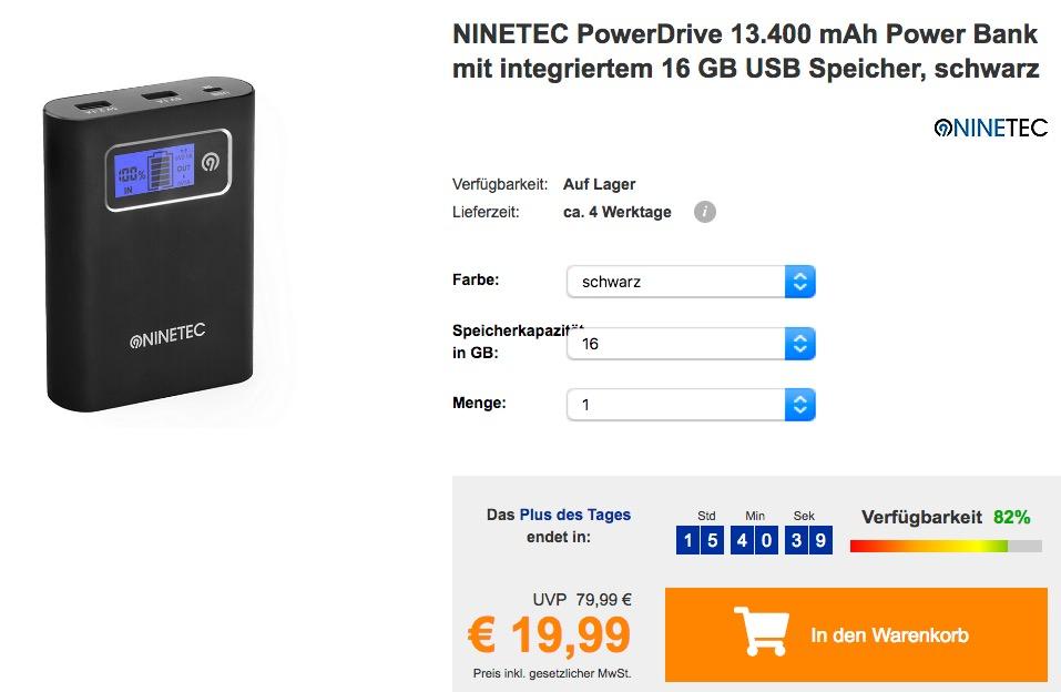 NINETEC PowerDrive 13.400 mAh Power Bank mit integriertem 16 GB USB Speicher