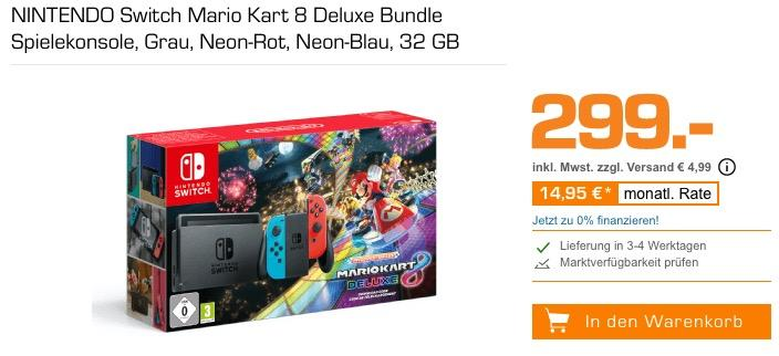 NINTENDO Switch Mario Kart 8 Deluxe Bundle Spielekonsole, 32 GB