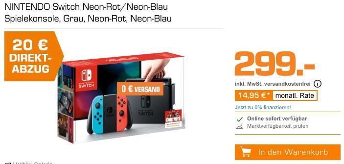 NINTENDO Switch Spielkonsole in Rot/Blau oder Grau