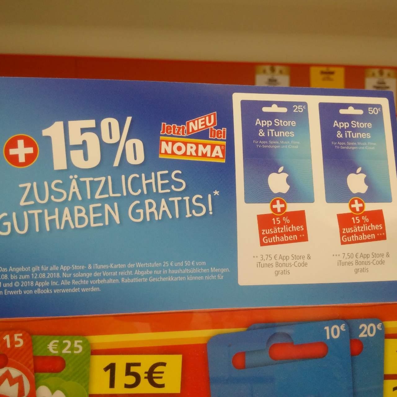 Norma Lebensmittel-Discounter:15% Extra-Guthaben beim Kauf von iTunes-Geschenkkarte 25€ und 50€ bis zum 12.08.18