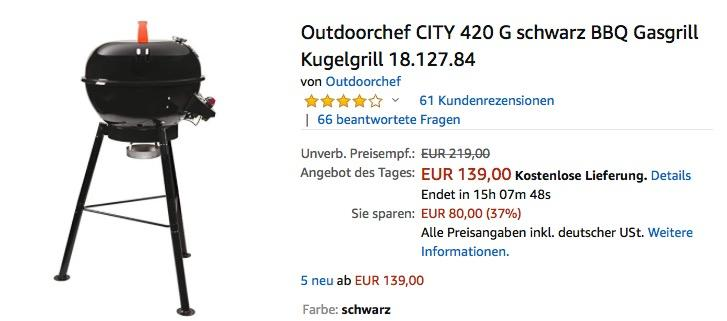 Outdoorchef CITY 420 G schwarz BBQ Gasgrill