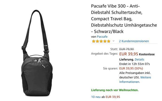 Pacsafe Vibe 300 - Anti-Diebstahl Schultertasche, 12 Liter