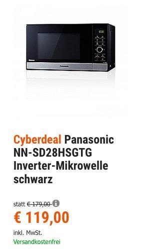 Panasonic NN-SD28HSGTG Inverter-Mikrowelle schwarz