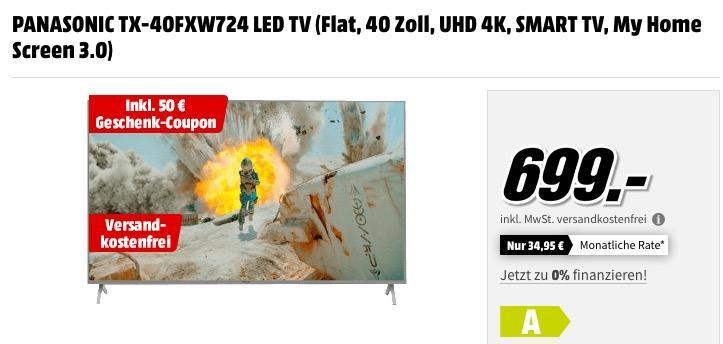 PANASONIC TX-40FXW724 40 Zoll UHD 4K - Fernseher zuzüglich 50€ Geschenk-Coupon