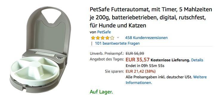 PetSafe Futterautomat für 5 Mahlzeiten je 200g