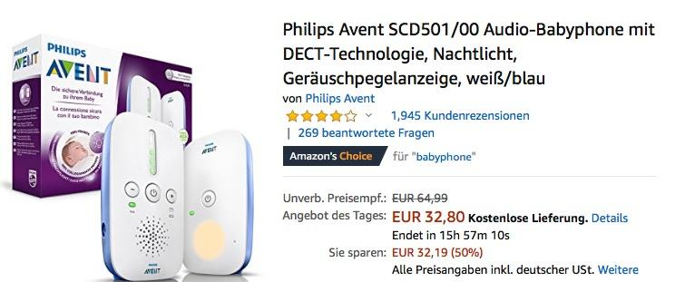 Philips Avent SCD501/00 Audio-Babyphone in Weiß/Blau