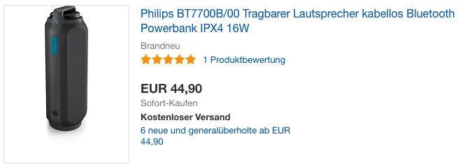 Philips BT7700B/00 Tragbarer kabelloser Lautsprecher