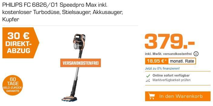 PHILIPS FC 6826/01 Speedpro Max Akku-Staubsauger inkl. Turbodüse