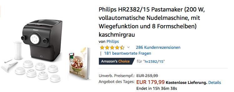 Philips HR2382/15 Pastamaker, vollautomatische Nudelmaschine